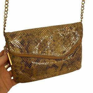 Hobo Mini Snakeskin Fold Over Crossbody Bag Chain